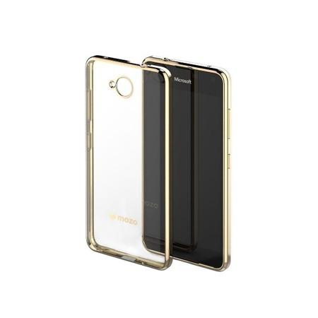 Etui Case MOZO do Microsoft Lumia 650 przezroczyste złota ramka