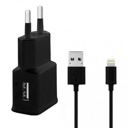 WG Ładowarka sieciowa USB, DUAL USB (2.4A) + kabel iPhone (iP5/6/7/8) czarna