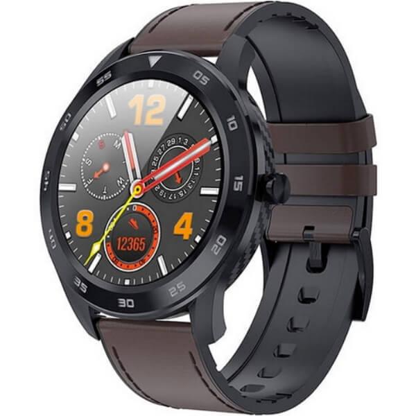 Zegarek - Smartwatch Garett GT22S ciemnobrązowy z skórzanym paskiem